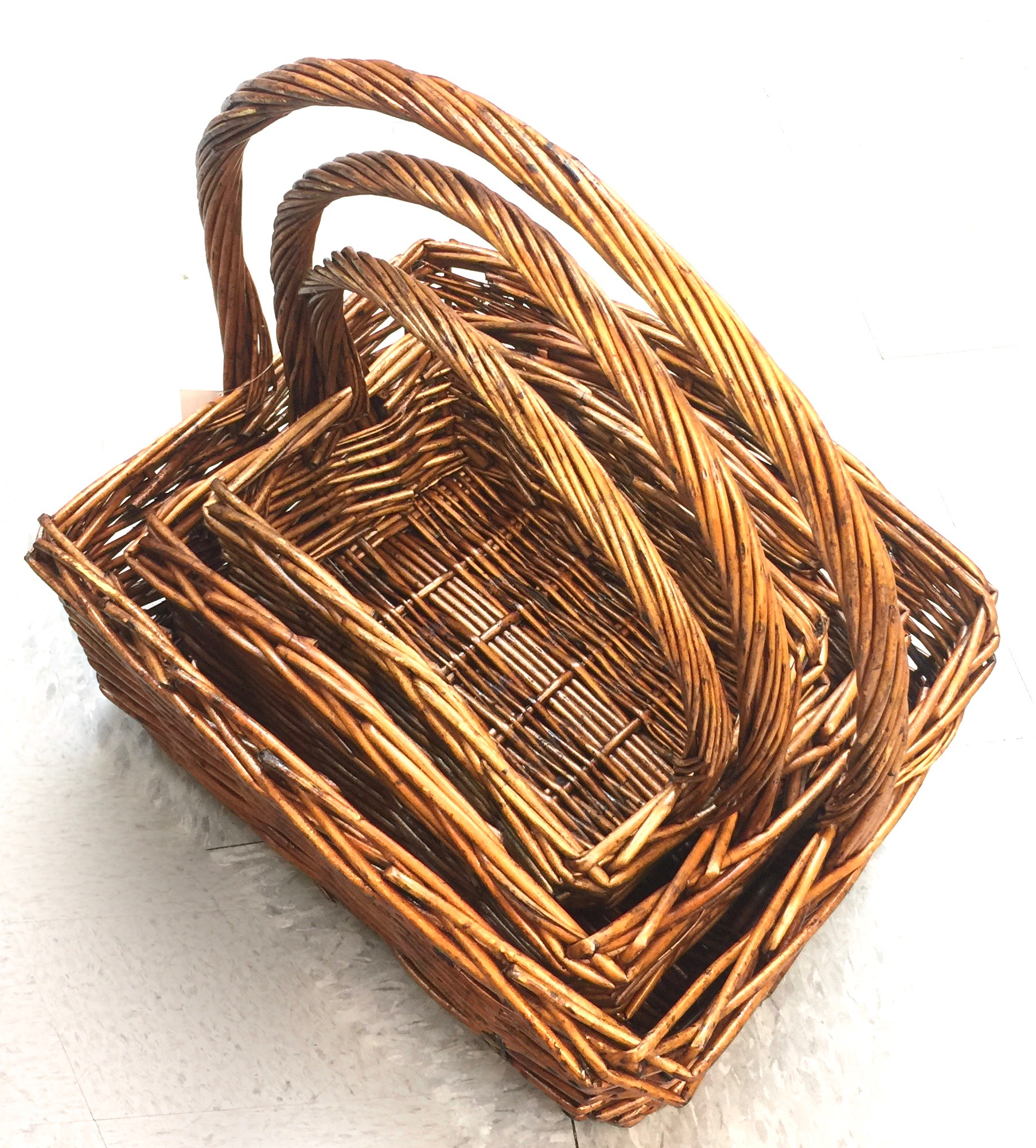 Wicker Basket Honey Boat Rect Set/3