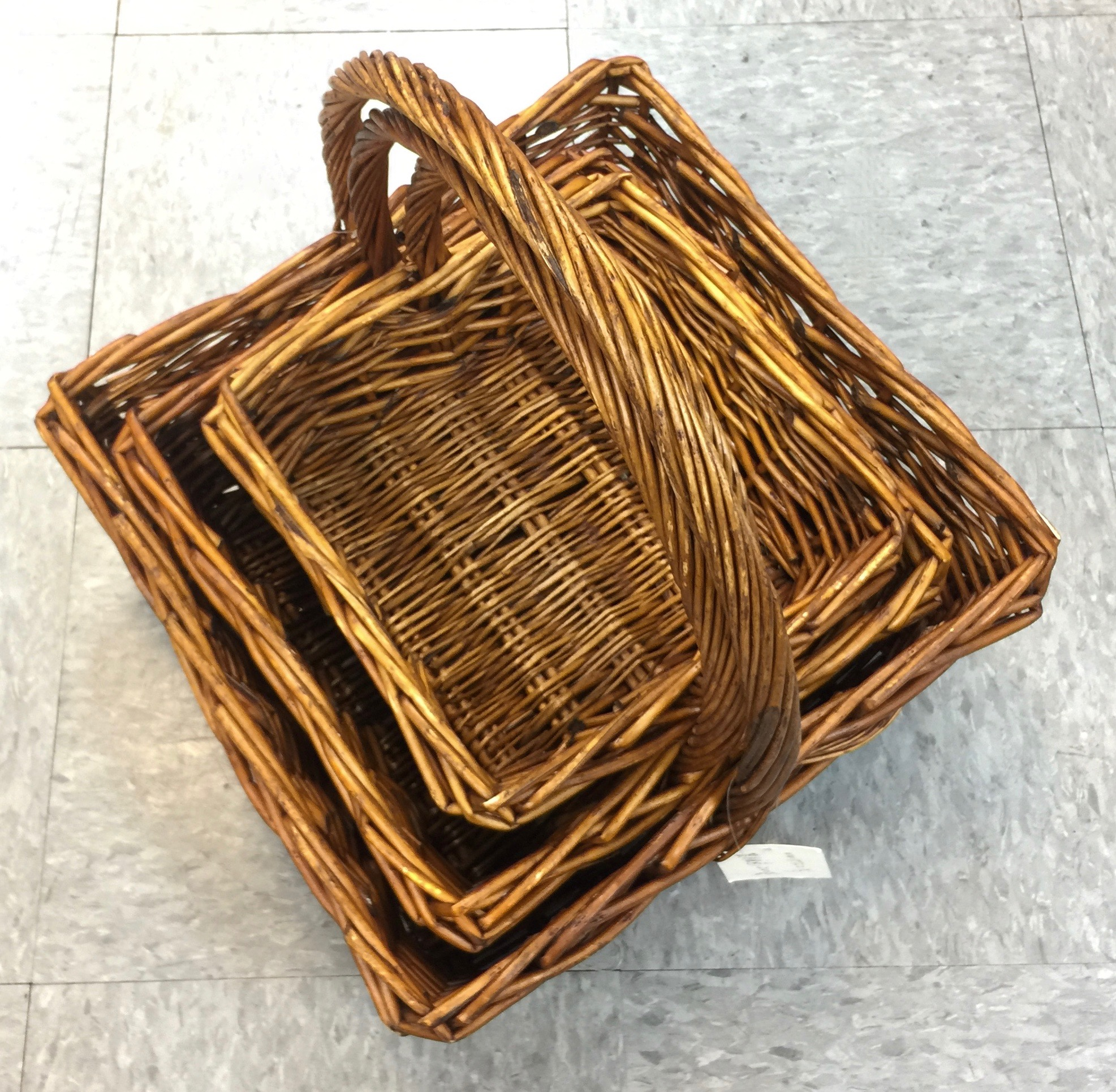 Wicker Basket Honey Square Set/3