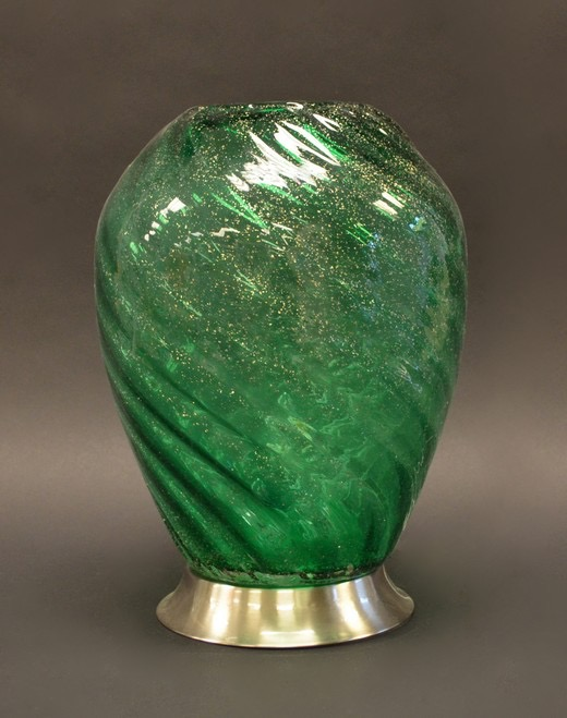 "14"" Clear Green Silver Dot Lamp"