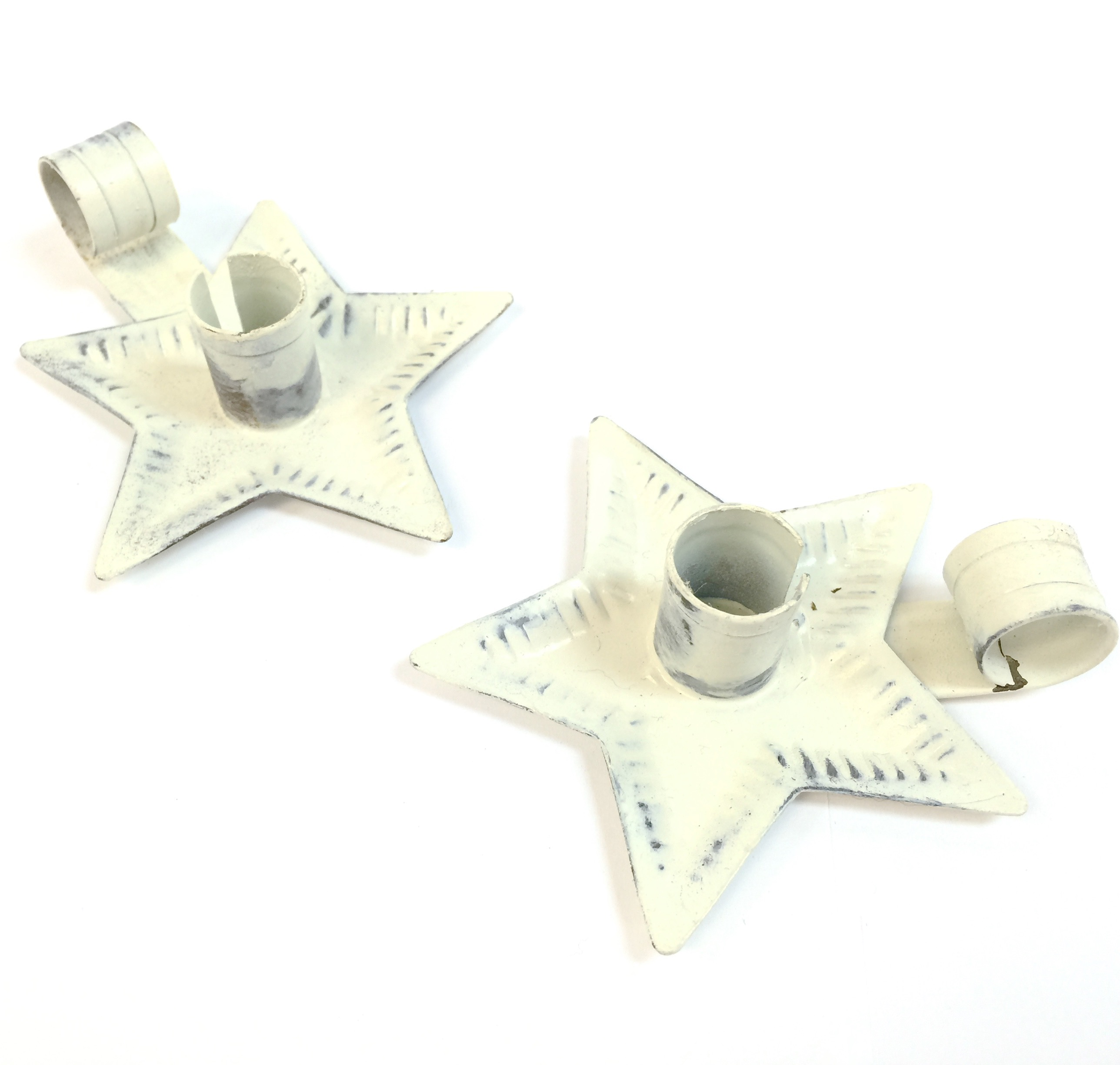 White Wash Mini Tin Star Candle