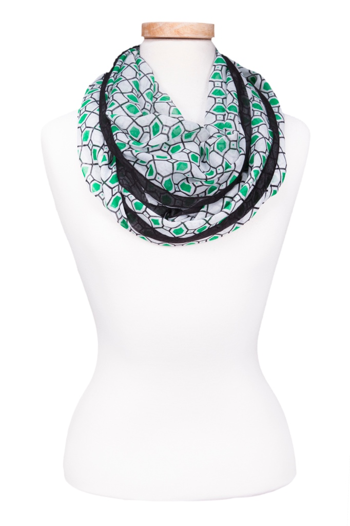 Infinity Checkerboard Scarf Green