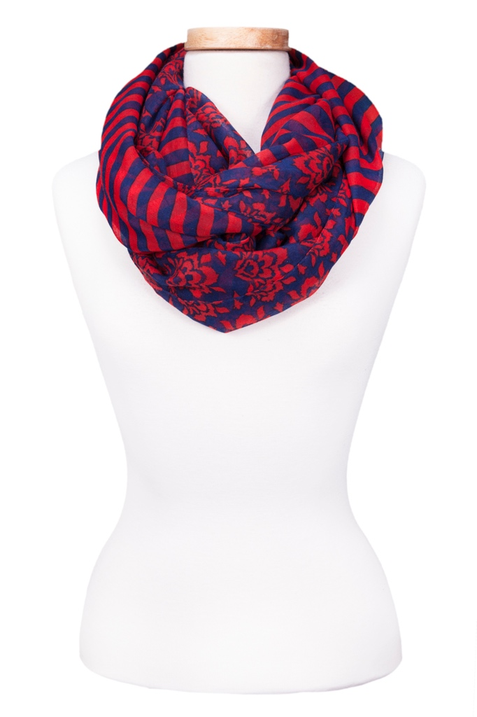 Infinity Stripe & Floral Scarf Asst*