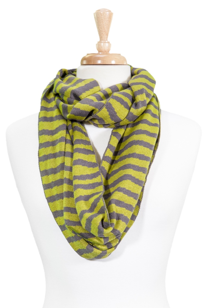 Striped Knit Infinity Scarf asst*