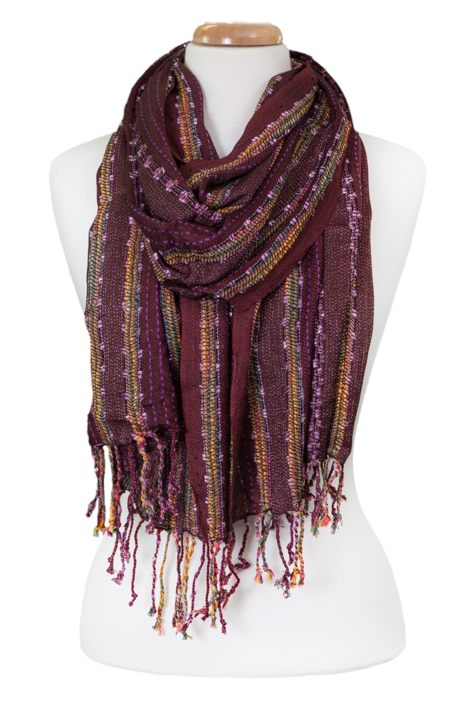 Long Bright Stripe Scarf asst