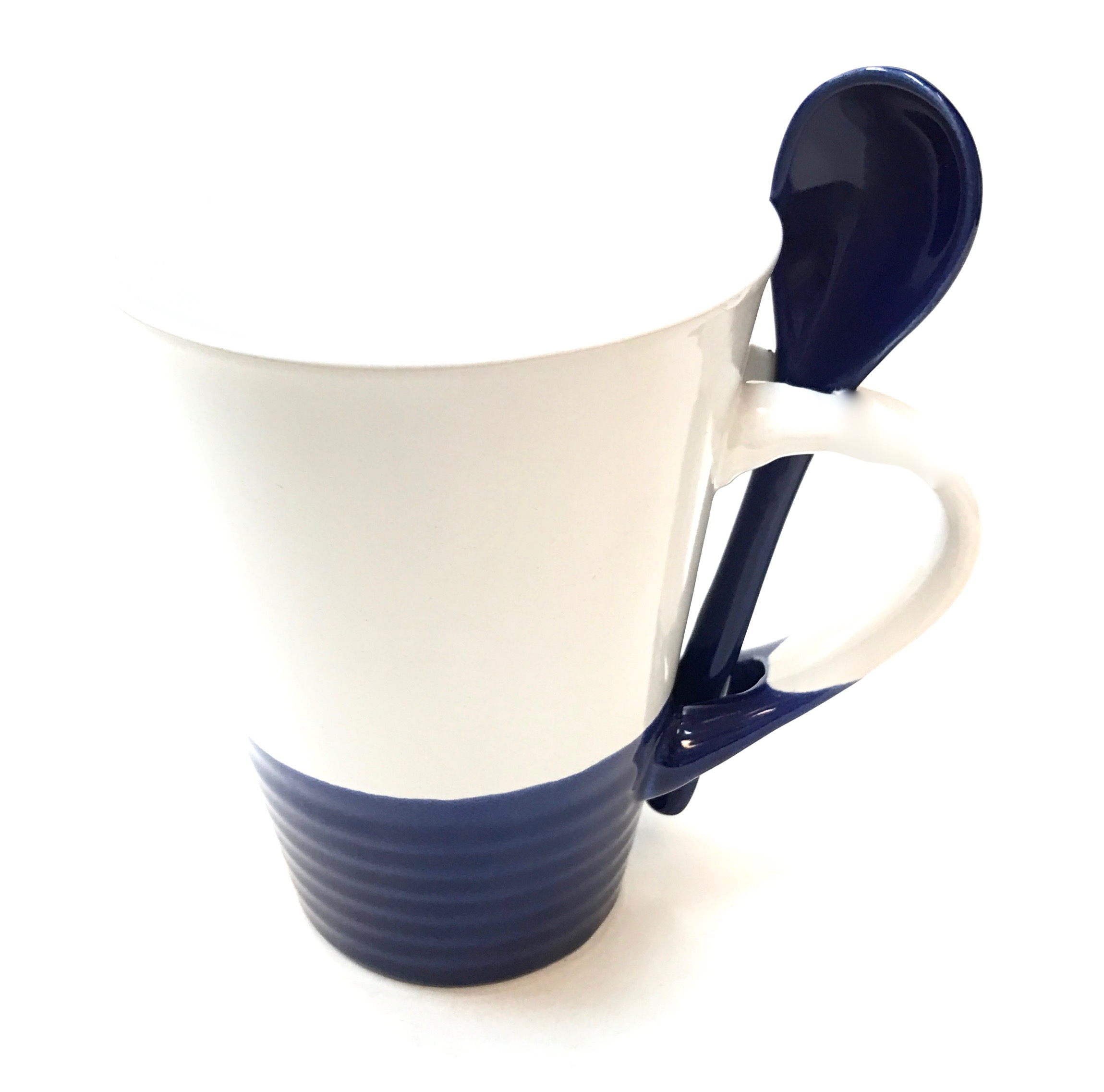11 Oz White w/Cobalt Base & Spoon