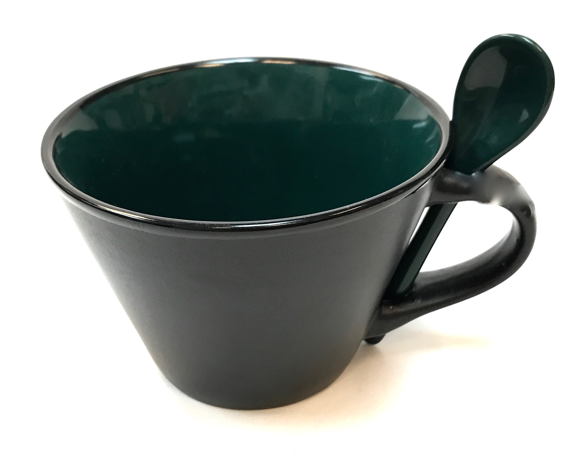 16 Oz Matte Mug W/Spoon - Green/Black