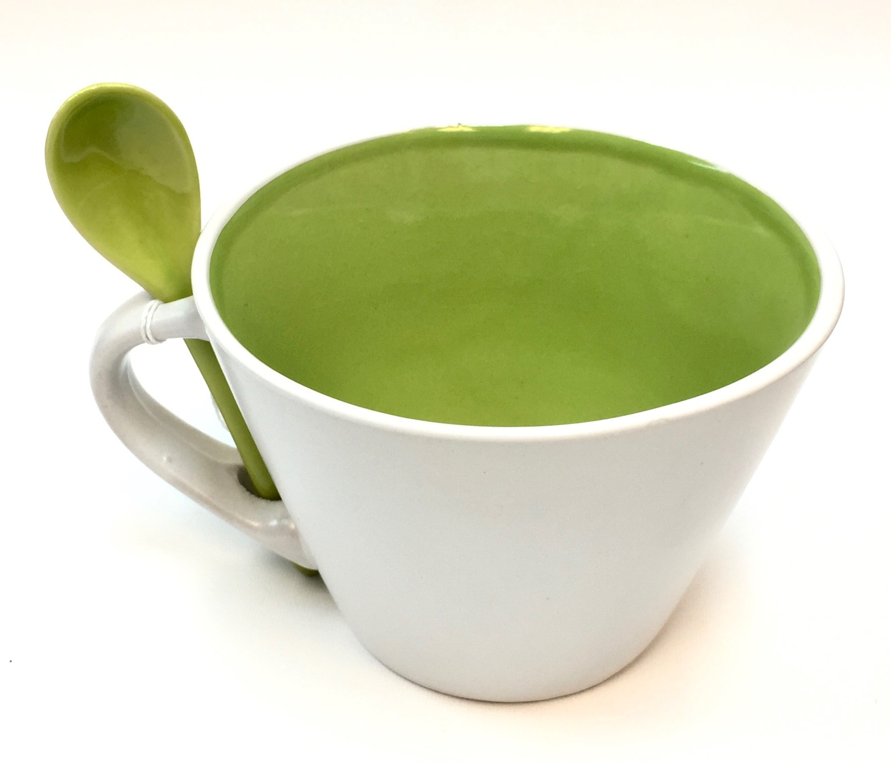 16 Oz Matte Mug W/Spoon - Lime/White