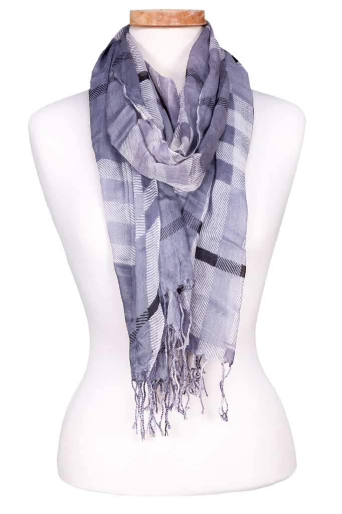 Fringed Plaid Scarf Asst
