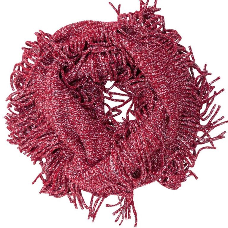 Evening Sparkle Fringed Infinity Scarf Asst