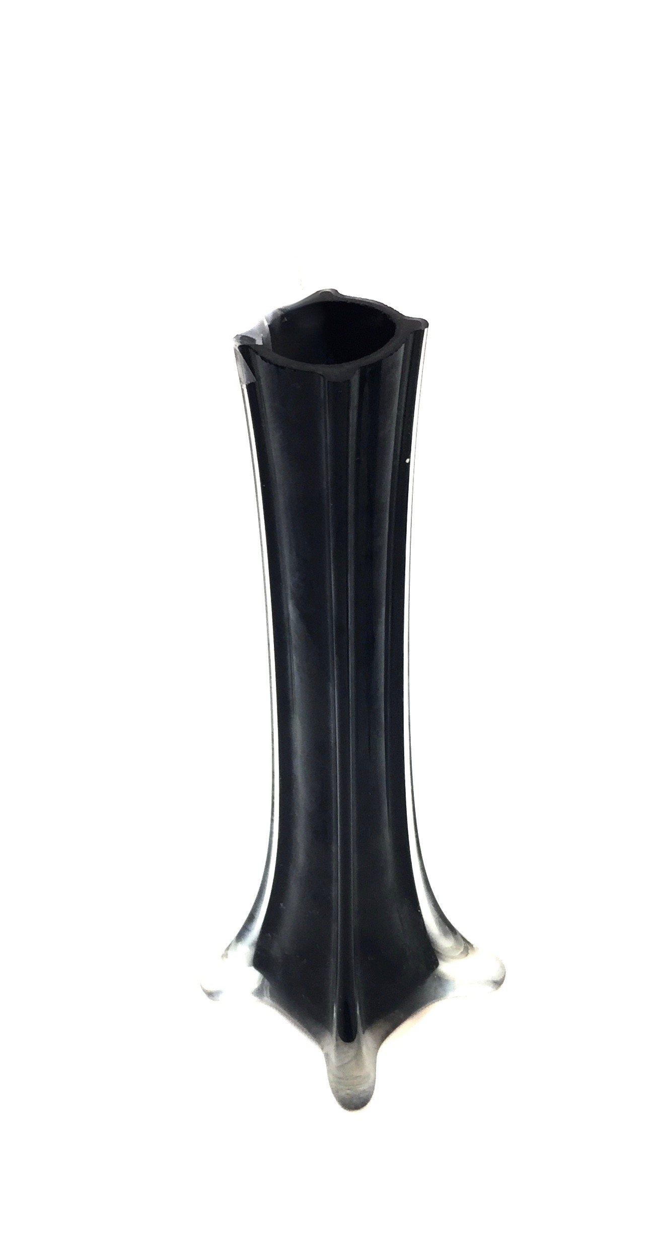 Glass Tower Vase Black 8""