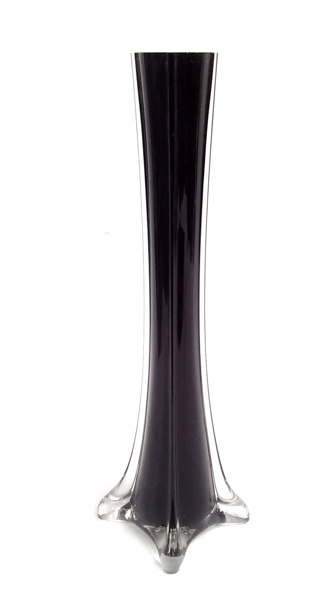 Glass Tower Vase Black 12""