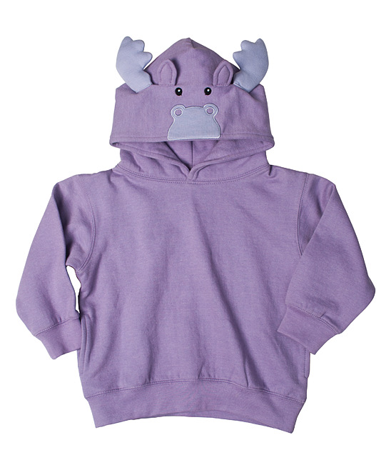 Toddler Animal Hoodie - Purple Moose