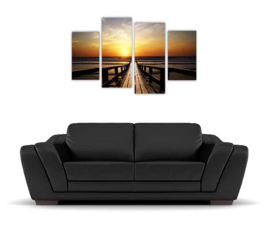 4 Pc Canvas Art Set - Pier Sunset