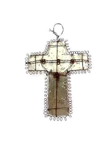Cross Ornament Iron Glass