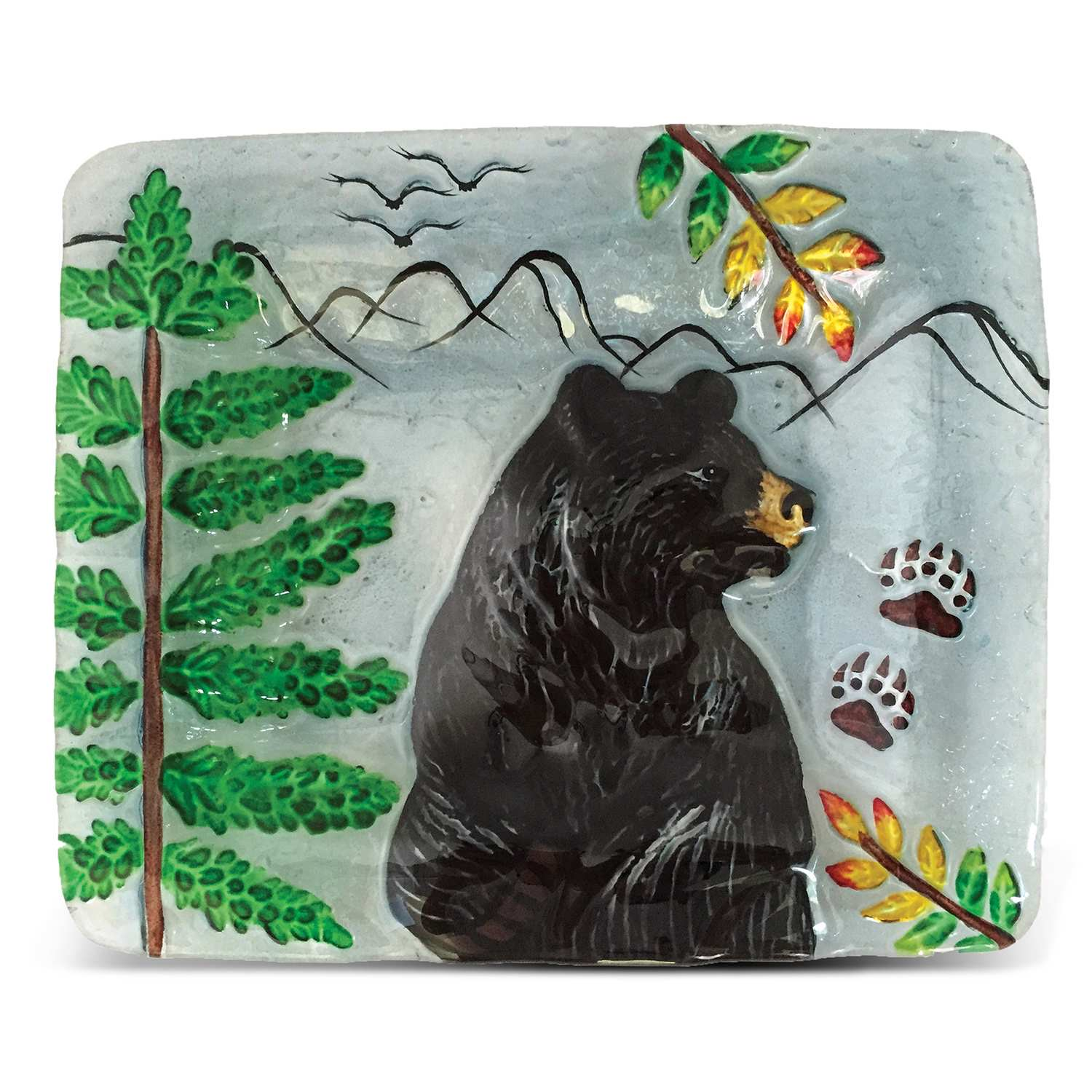 "7"" Clear Rect. Plate Black Bear"