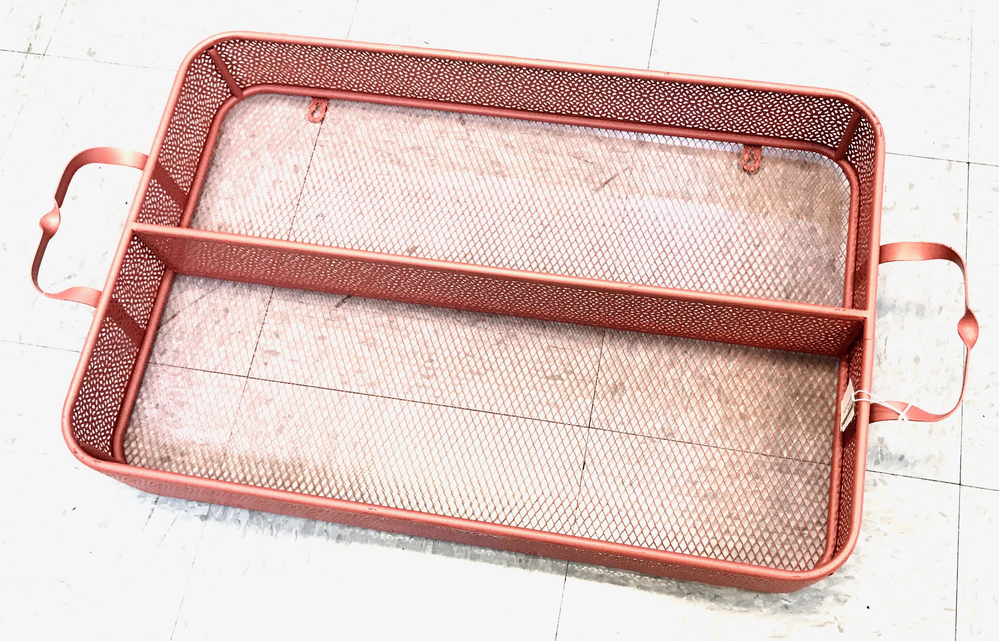 Large Divided Metal Tray Pink
