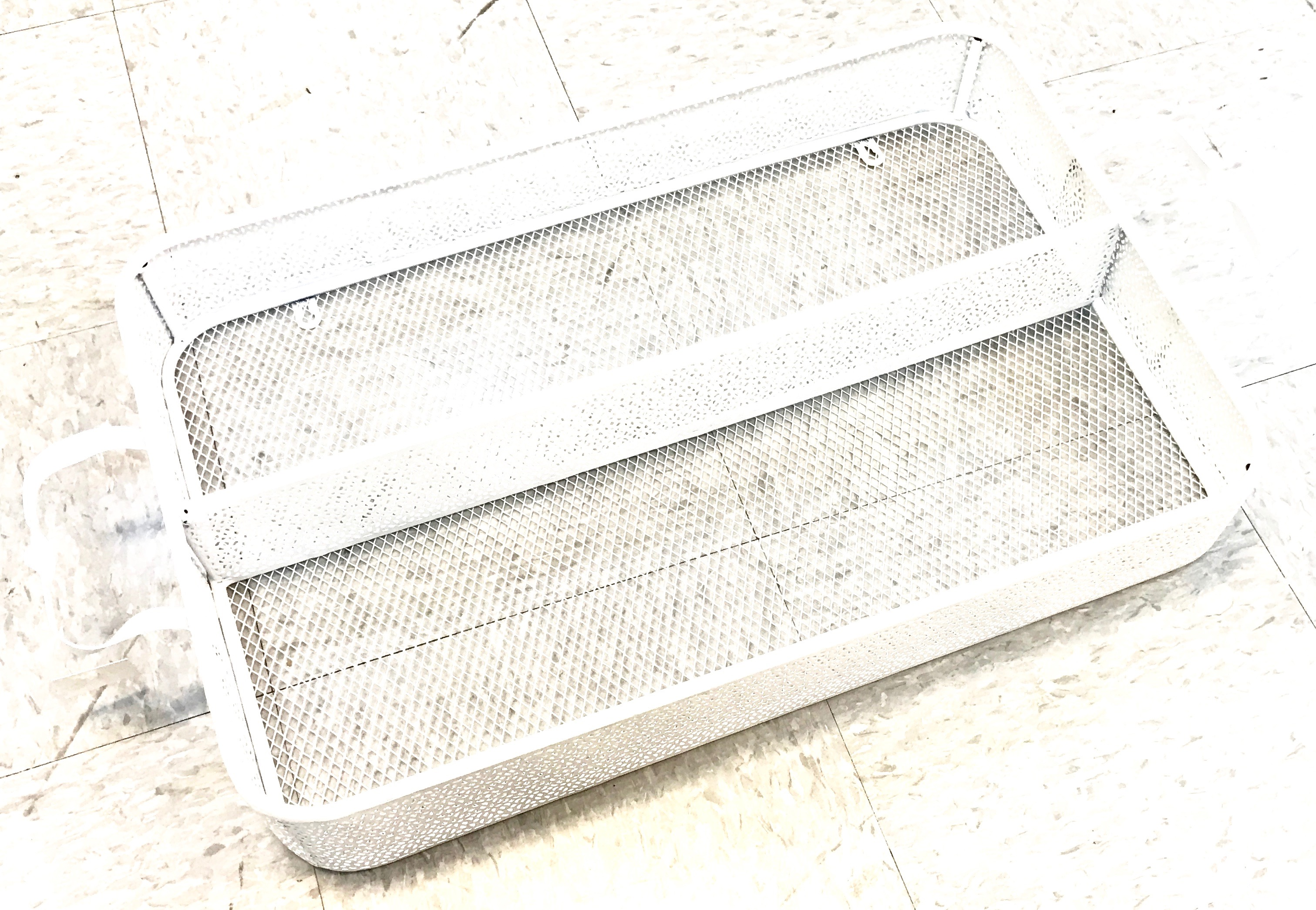 Large Divided Metal Tray White