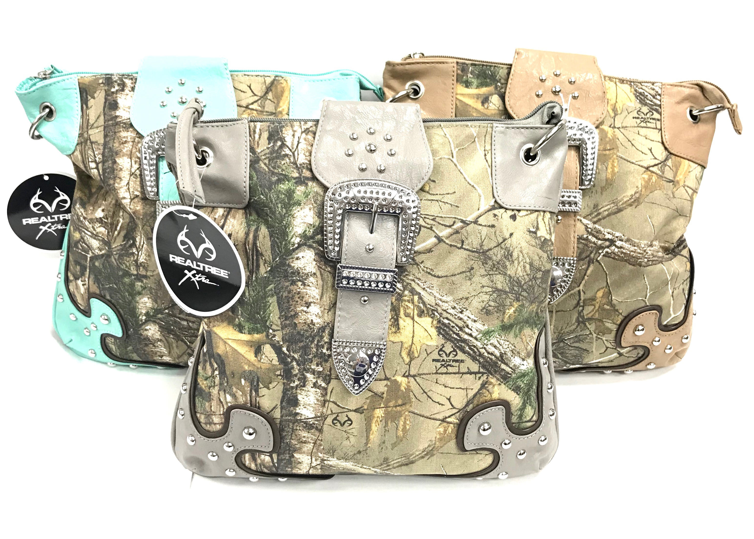 Realtree Crossbody With Buckle Mint/Tan/Grey