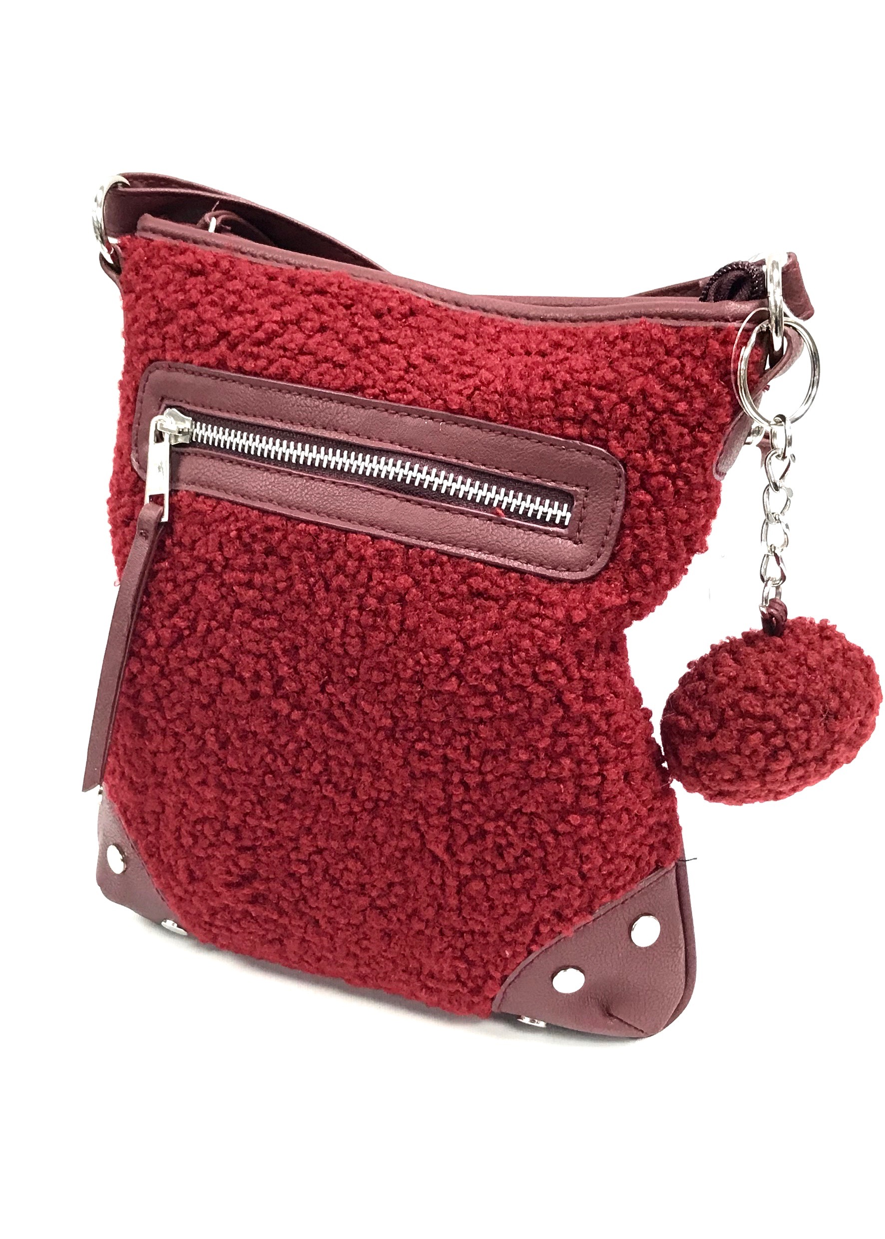 Fleece Front Crossbody - Wine