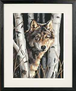 Wolf In Trees Paint By Number Kit