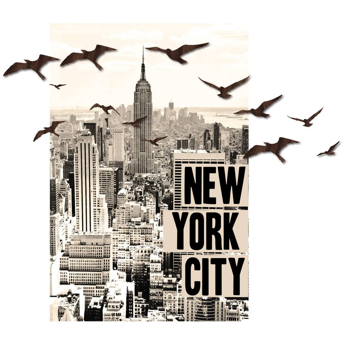 3D Peel & Stick New York & Birds