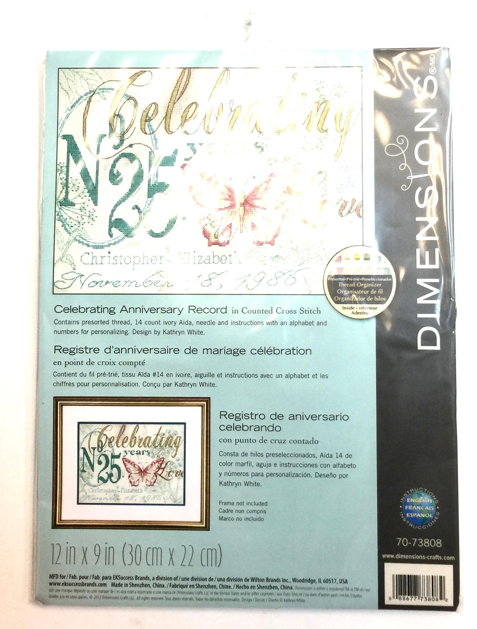 10x10 Celebrating Anniversary Record Embroidery Kit [EK70-73808 ...