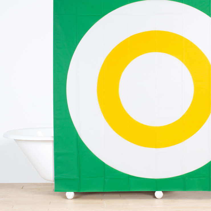 (JF8002) Bullseye Shower Curtain Green