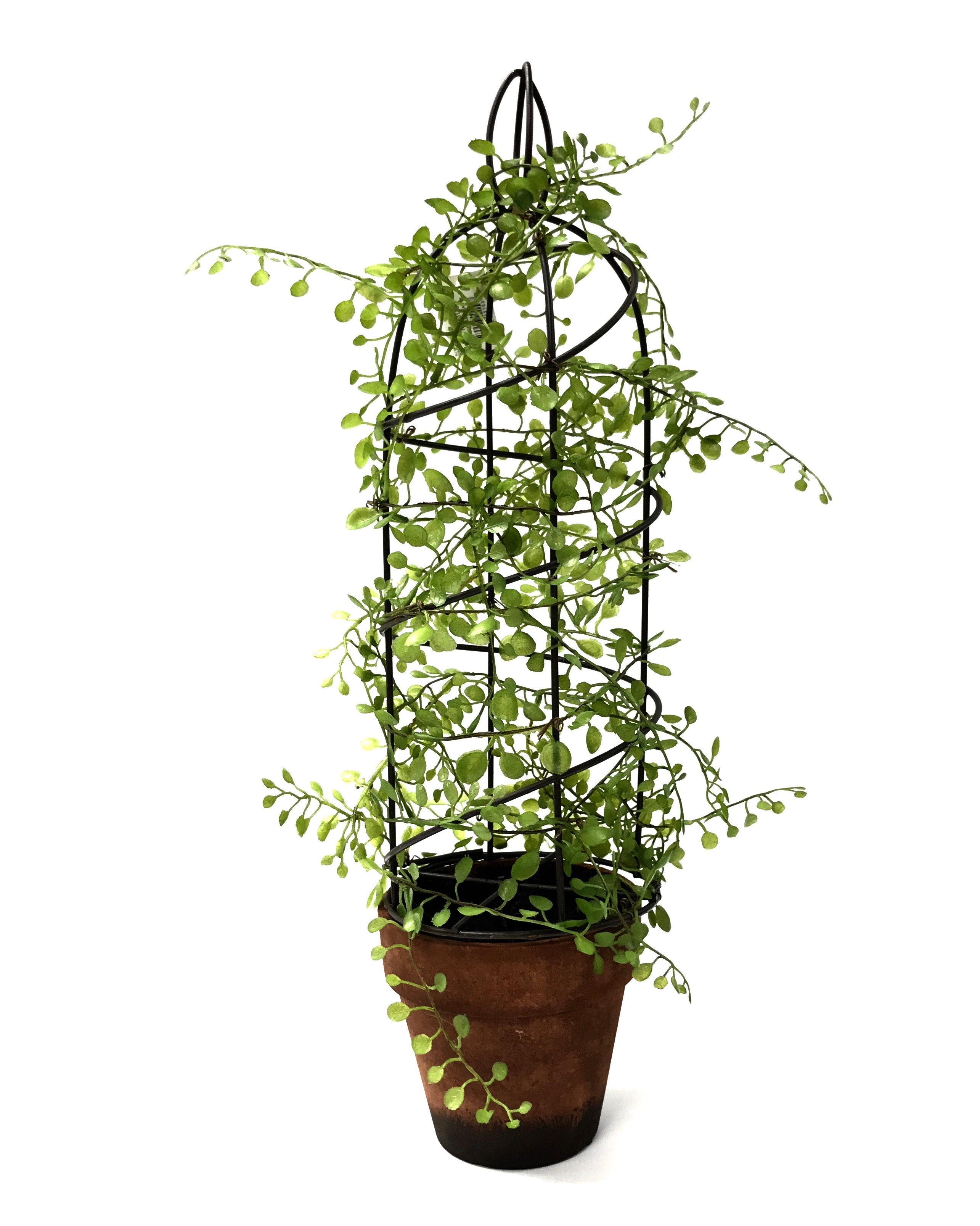 "18"" Artificial Plants w/Ceramic Pot & Wire Tower"