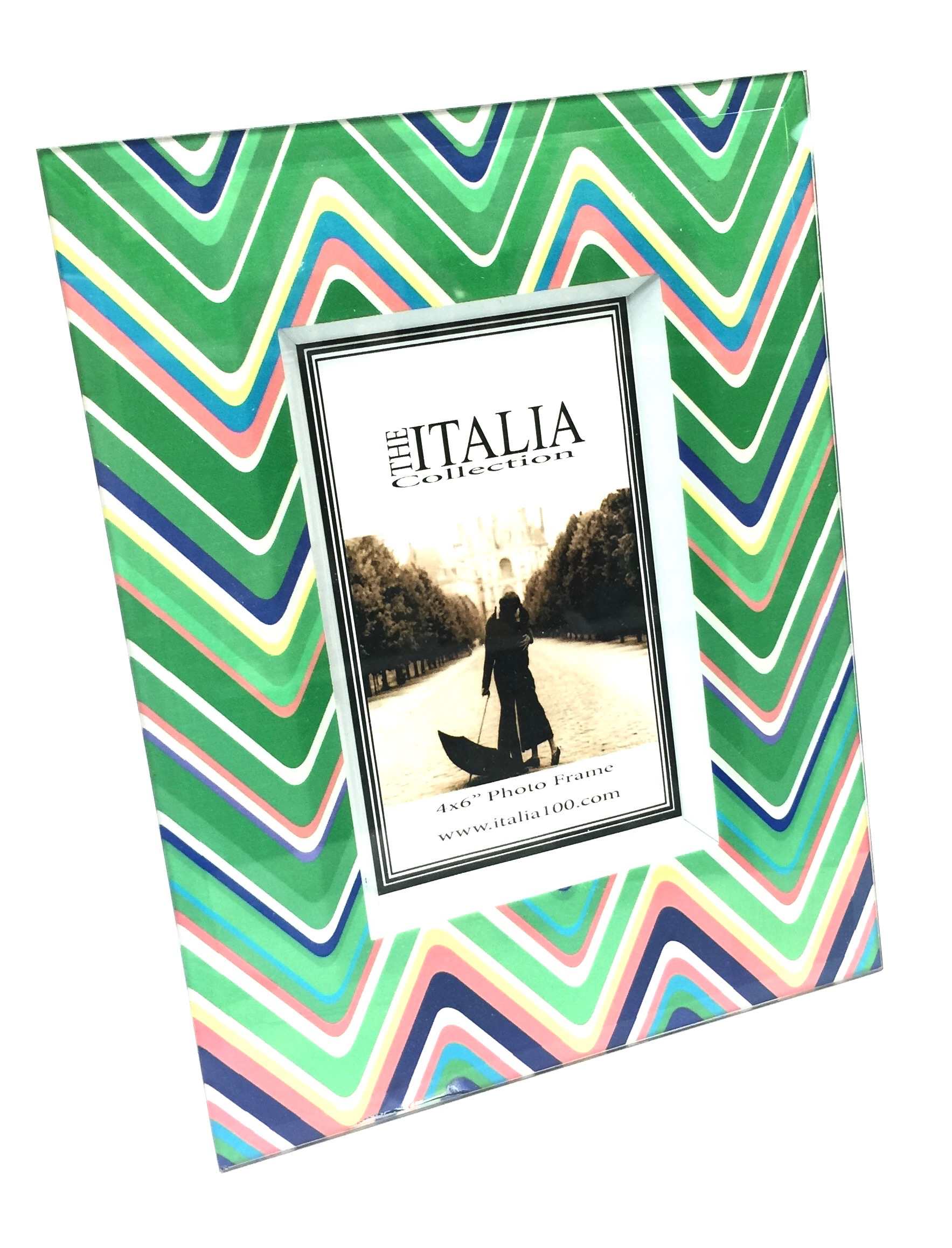 Glass Frame 4x6 Zig Zag Green