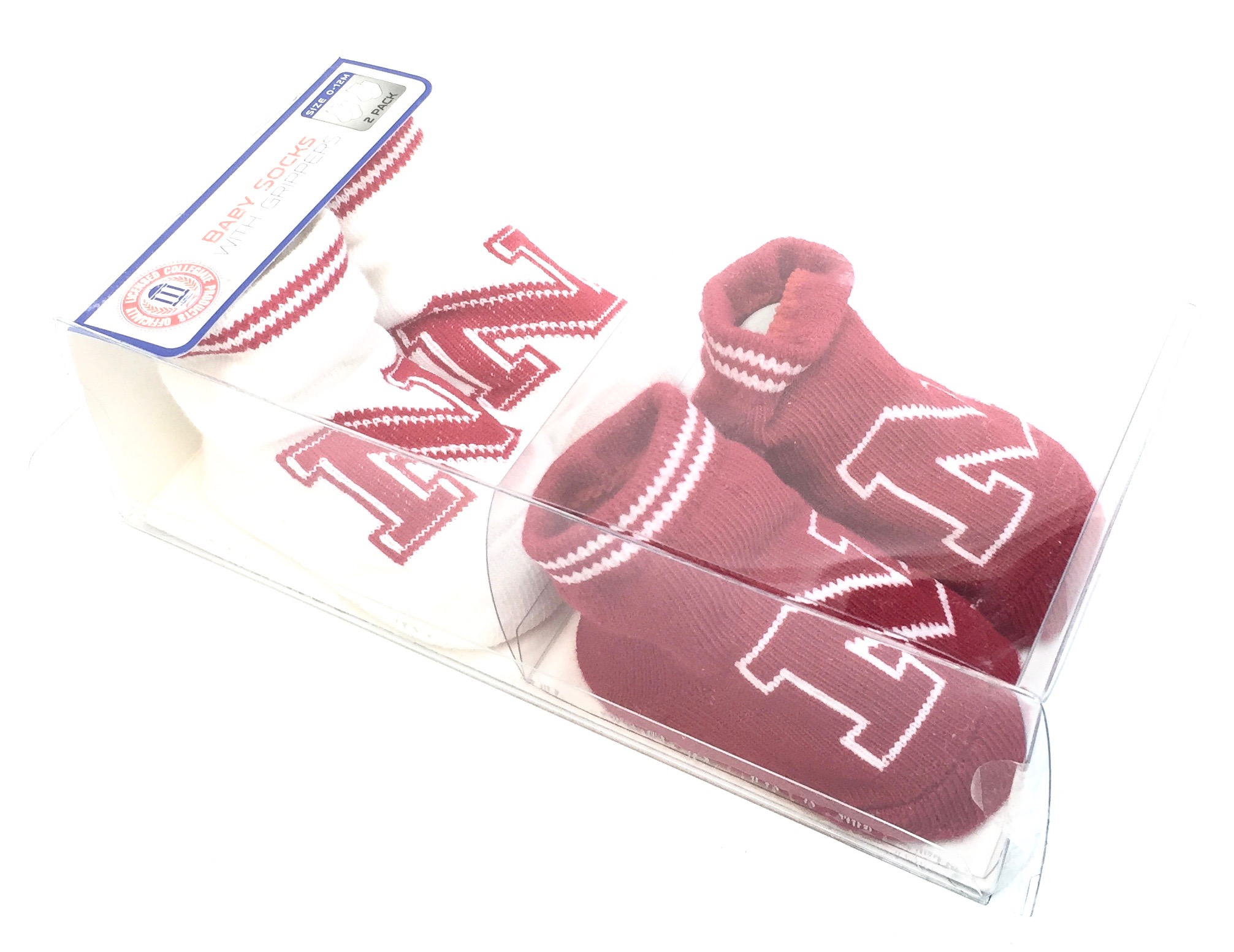 Boxed 2 Pk Baby Socks w/Grippers - Nebraska