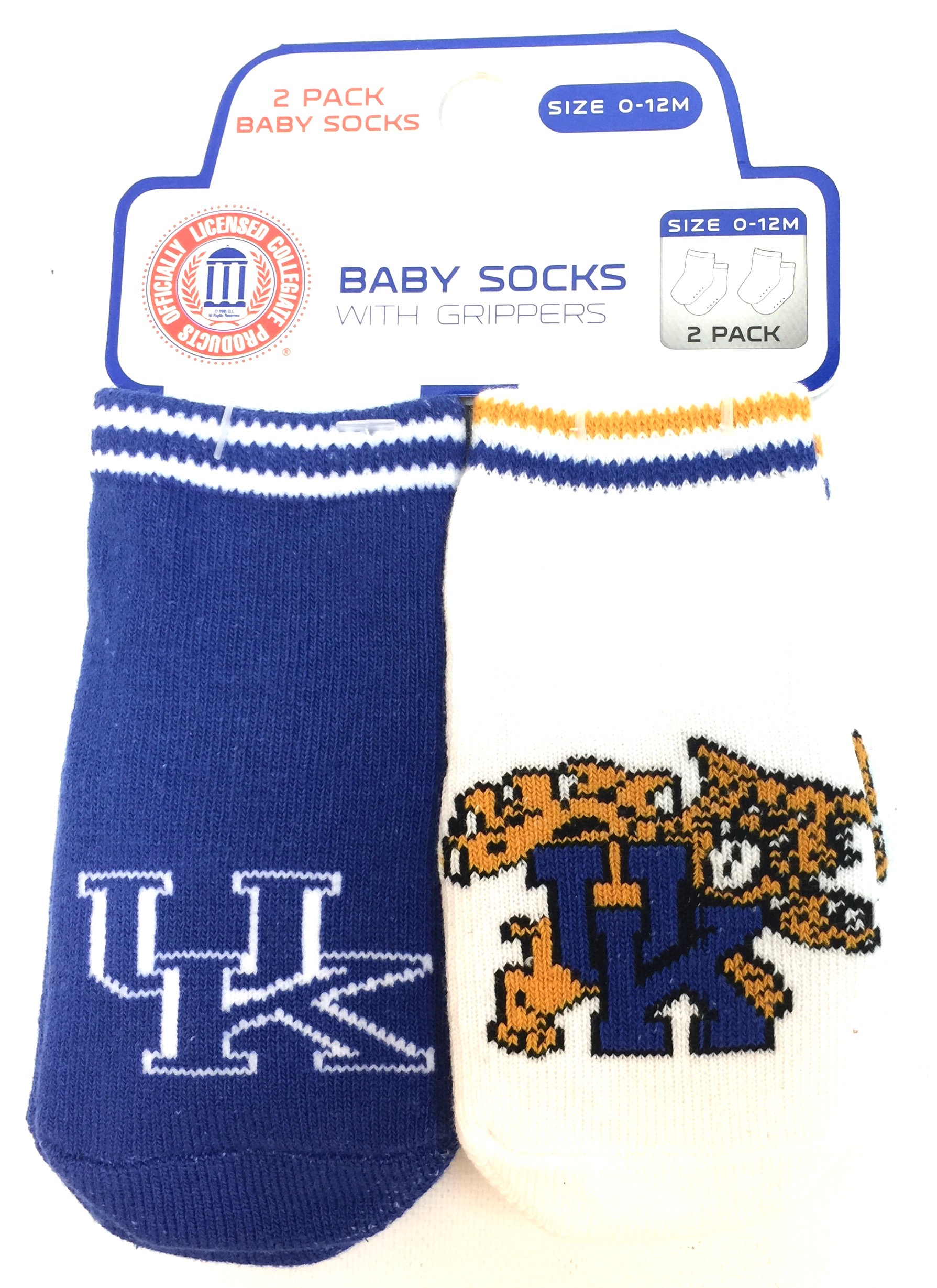 Carded 2 Pk Baby Socks w/Grippers - Kentucky