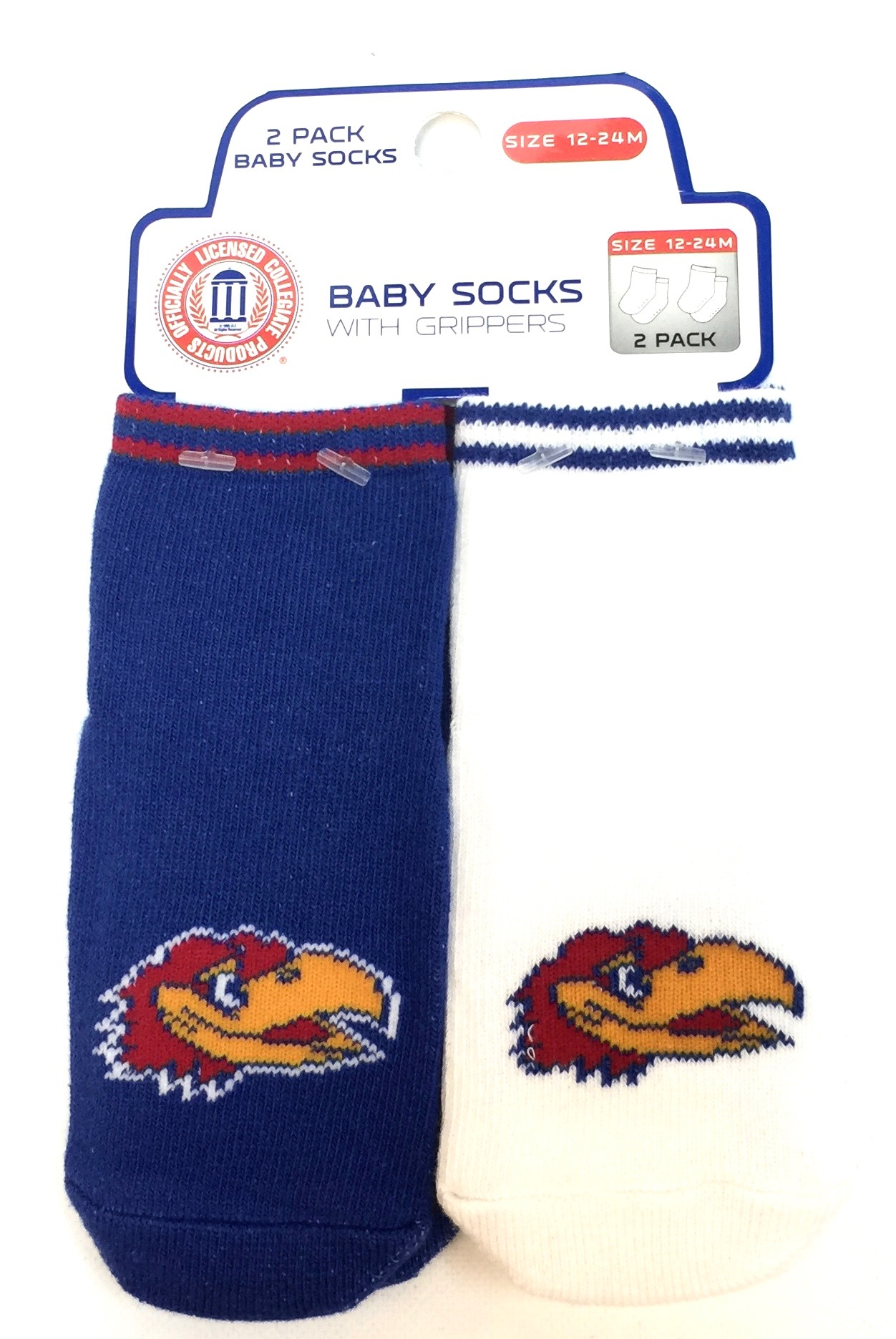 Carded 2 Pk Baby Socks w/Grippers - Kansas