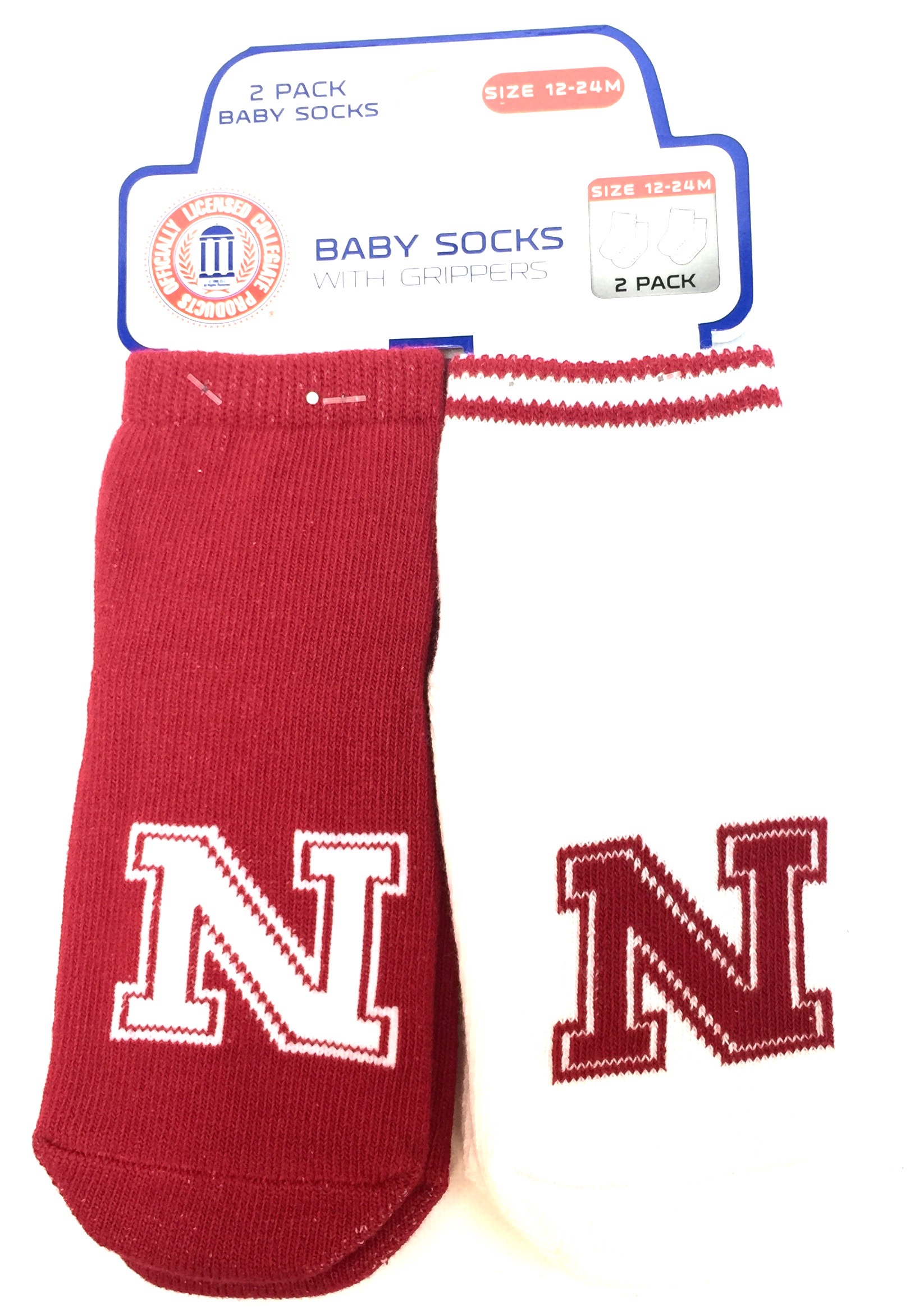 Carded 2 Pk Baby Socks w/Grippers - Nebraska