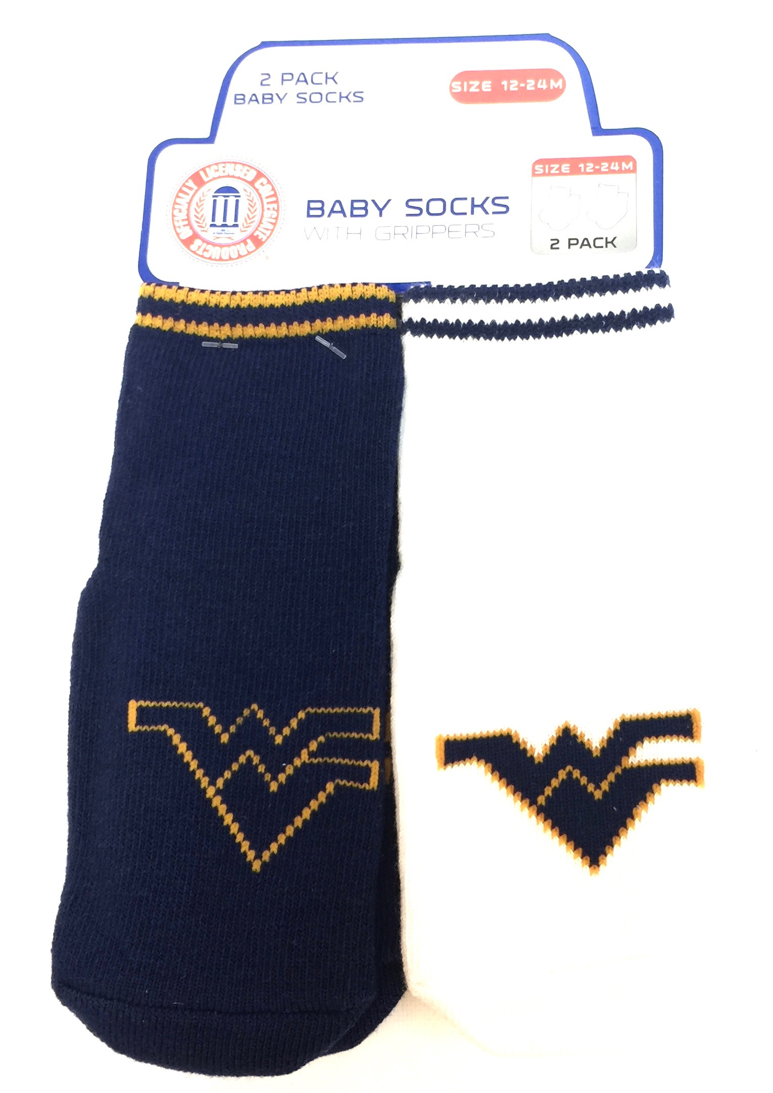 Carded 2 Pk Baby Socks w/Grippers - Virginia