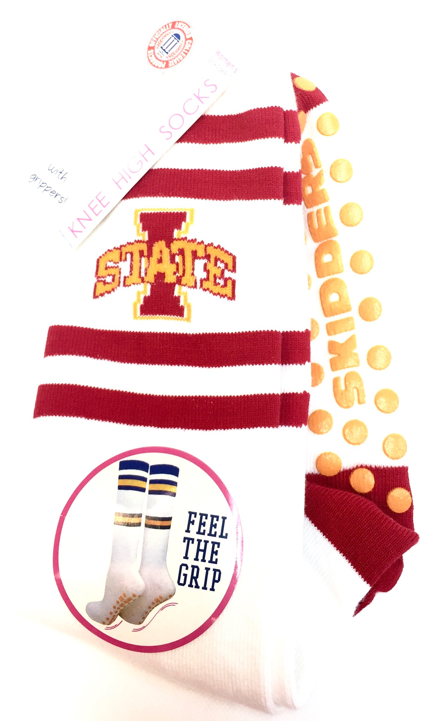 Womens Knee High Sock w/Gripper - Iowa State