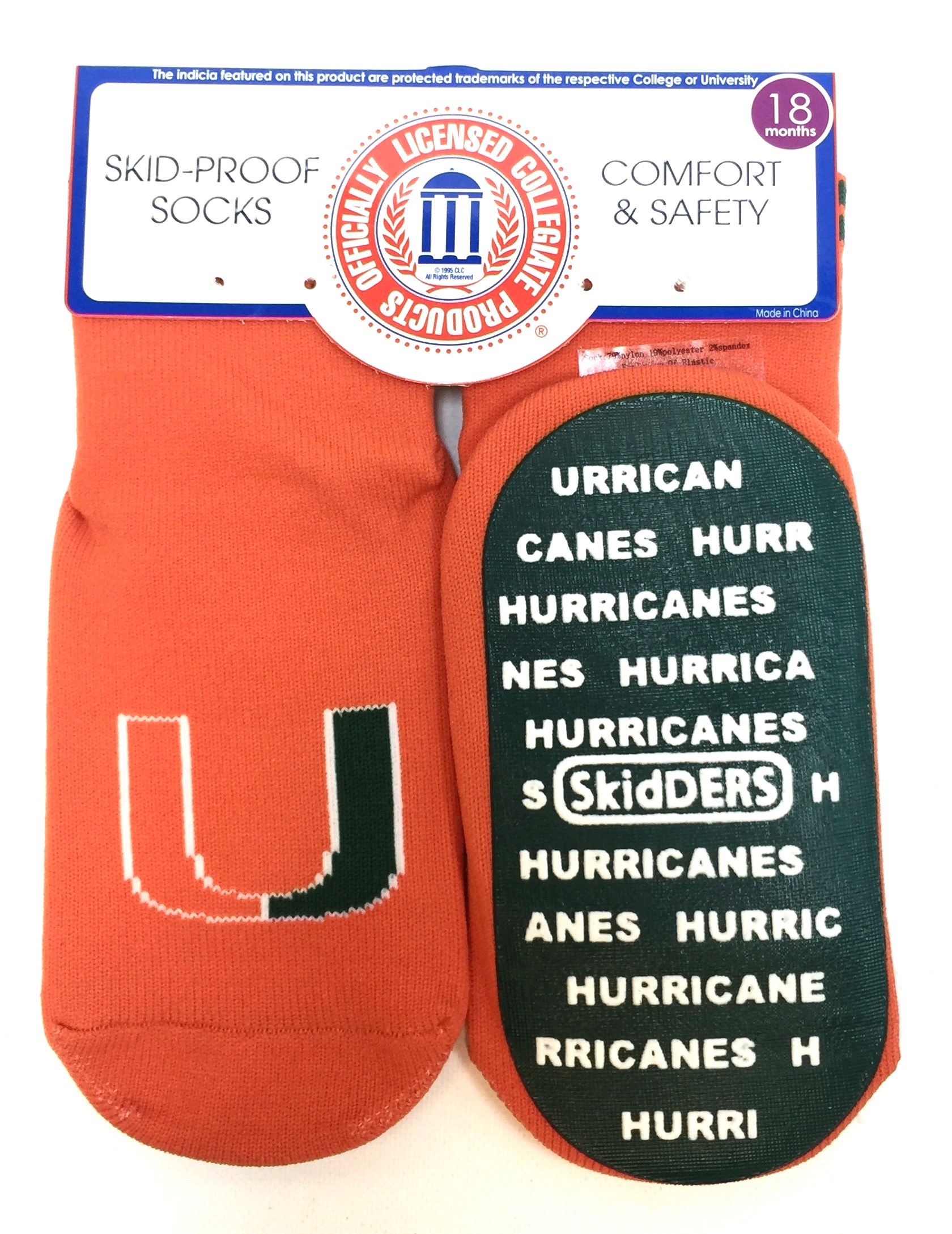 1 Pk Skid Proof Sock - Miami Hurricanes