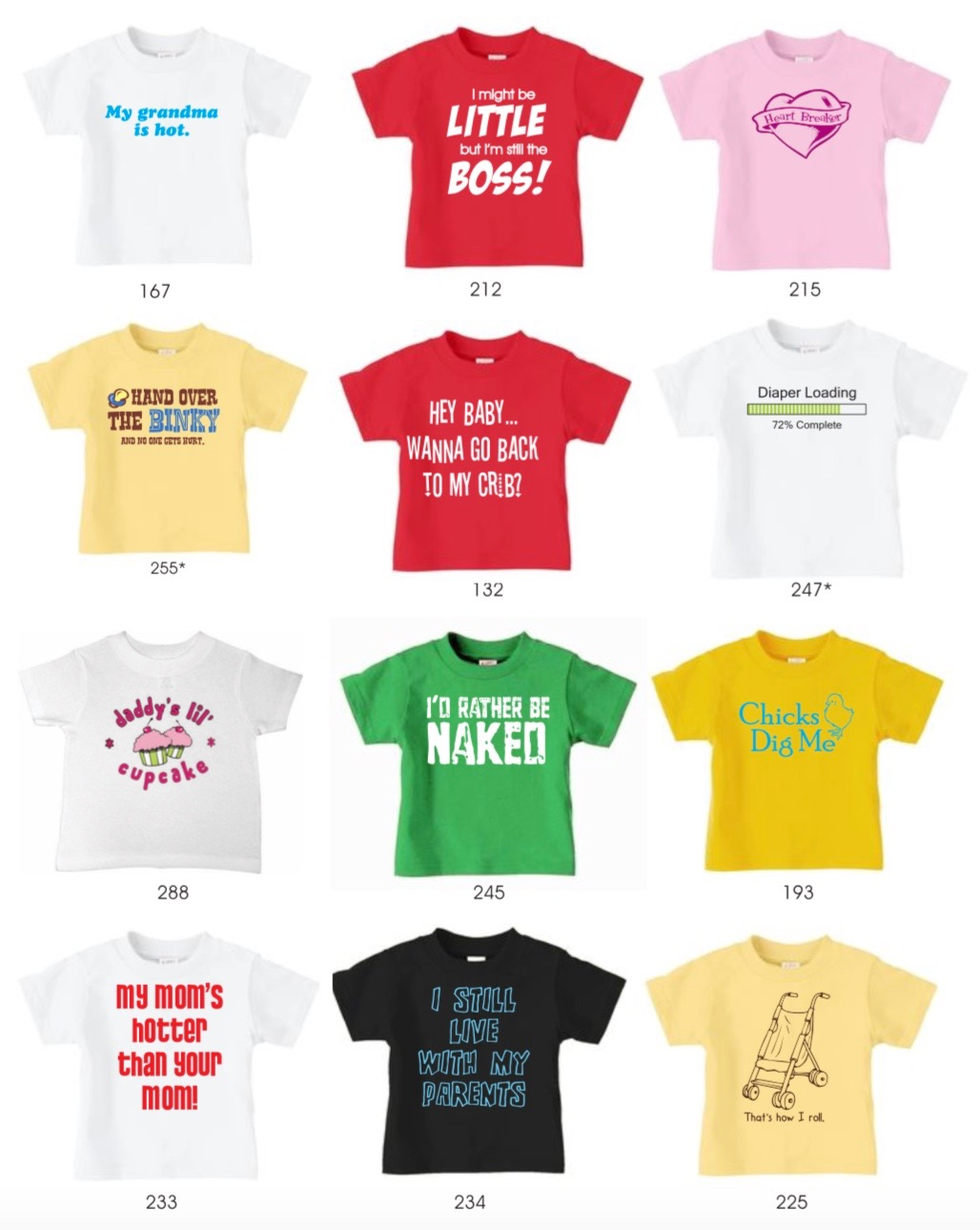 Humorous Toddler Tee Shirts