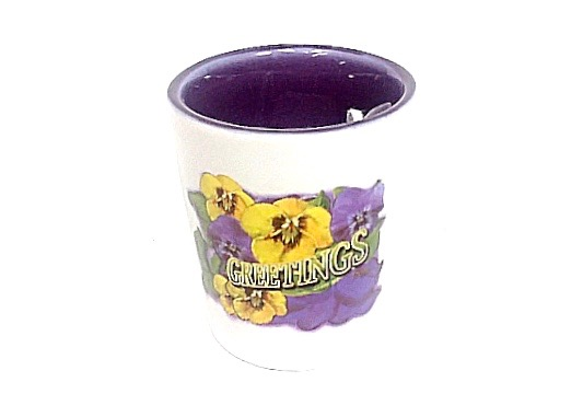 Shot Glass Pansy Greetings