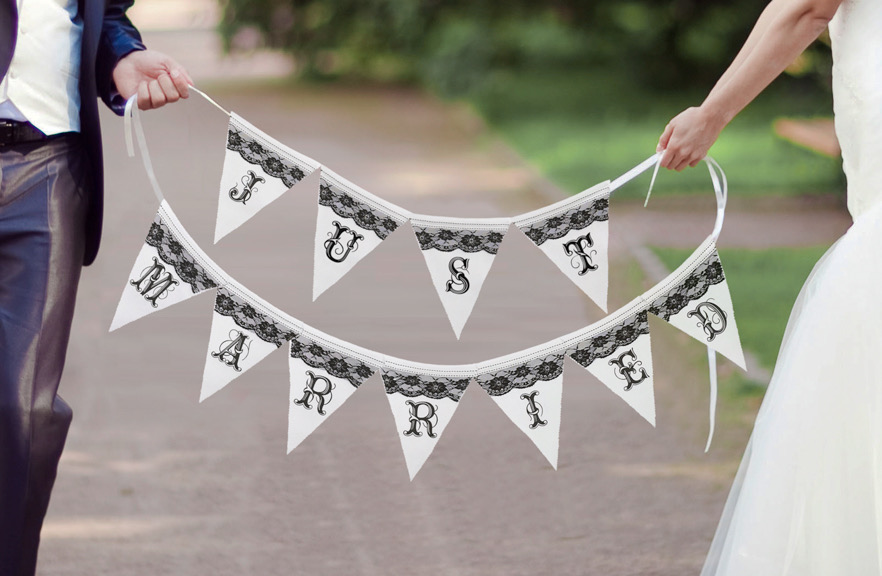 Just Married Banner- Black Lace
