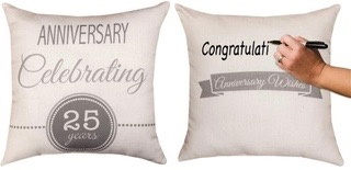 25th Anniv Write On Pillow