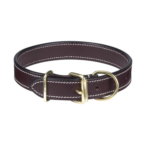 "CC Flat Leather Collar 11-14"" Brown"