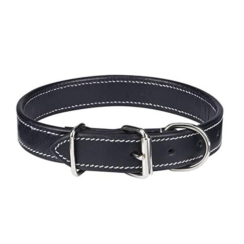 "CC Flat Leather Collar 22-26"" Black"