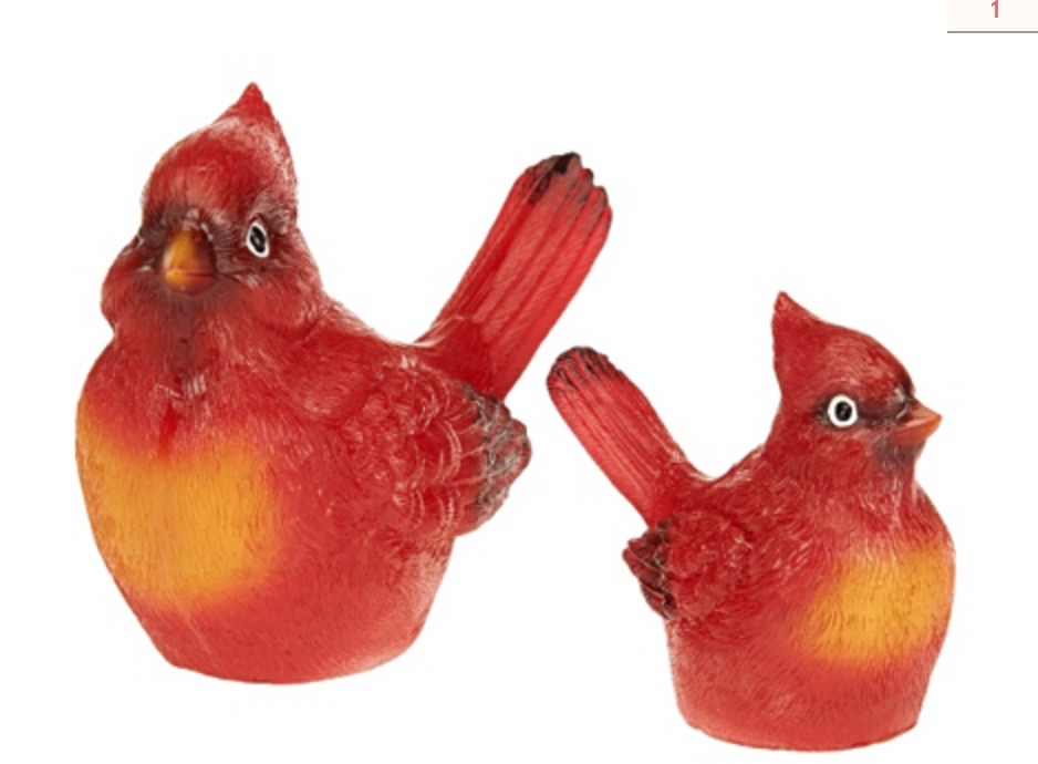 (8000) Indoor Outdoor Glazed Resin Birds - RED