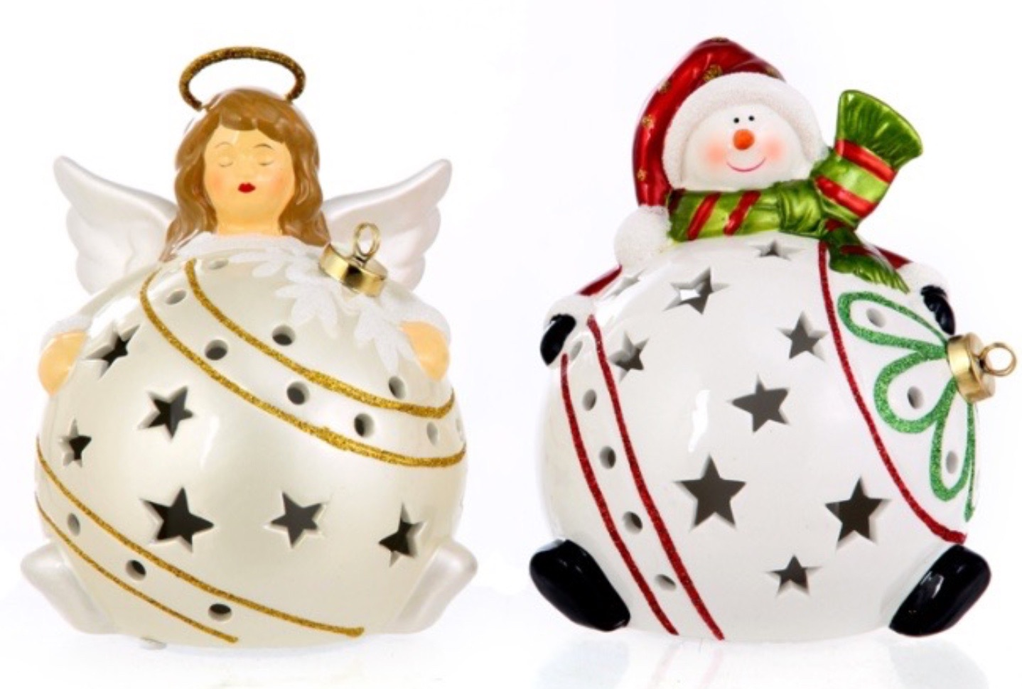 H202869-850 Set/2 Home Reflections Luninaries Angel/Snowman