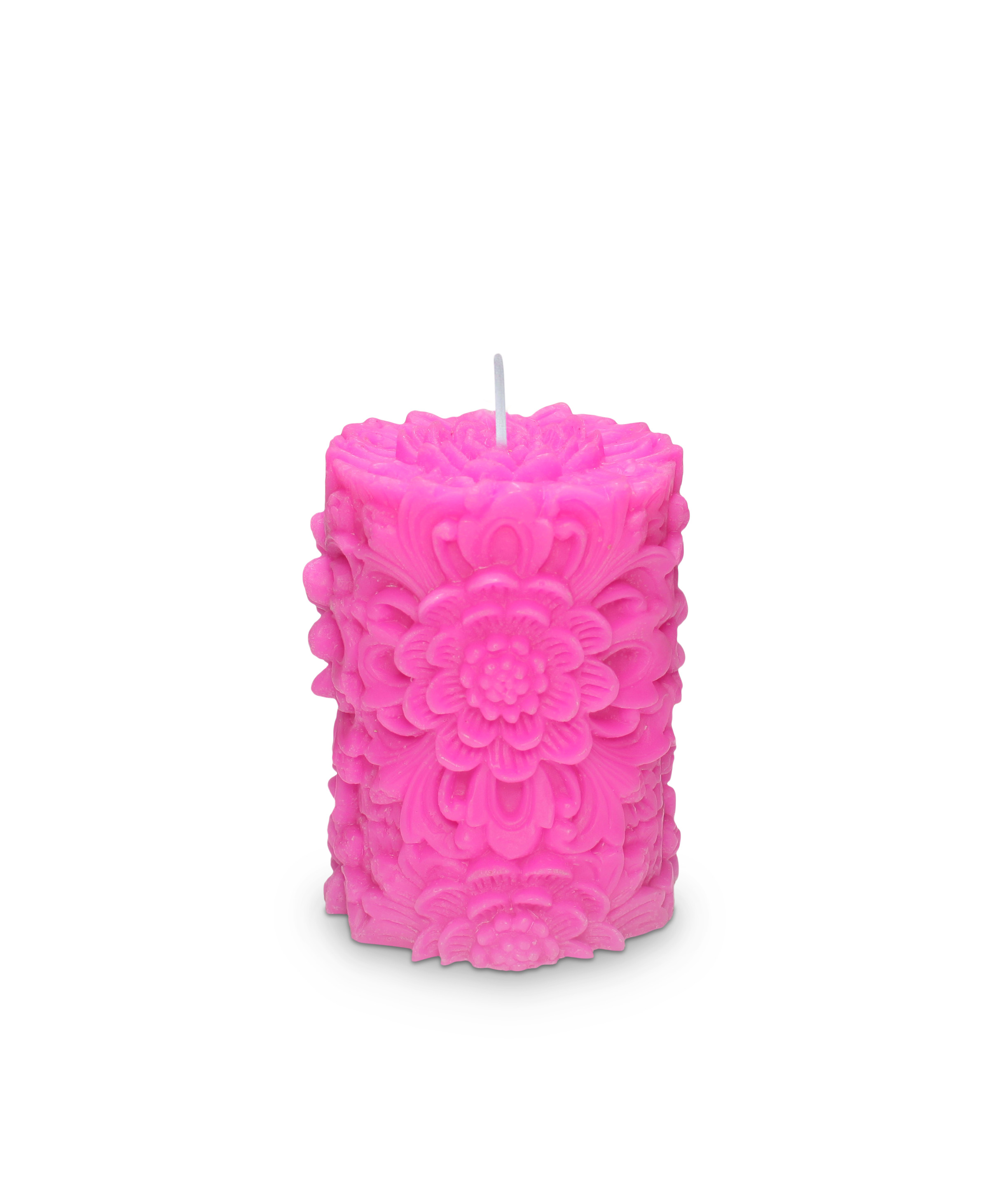 Dendritic Small Pillar Candle Hot Pink