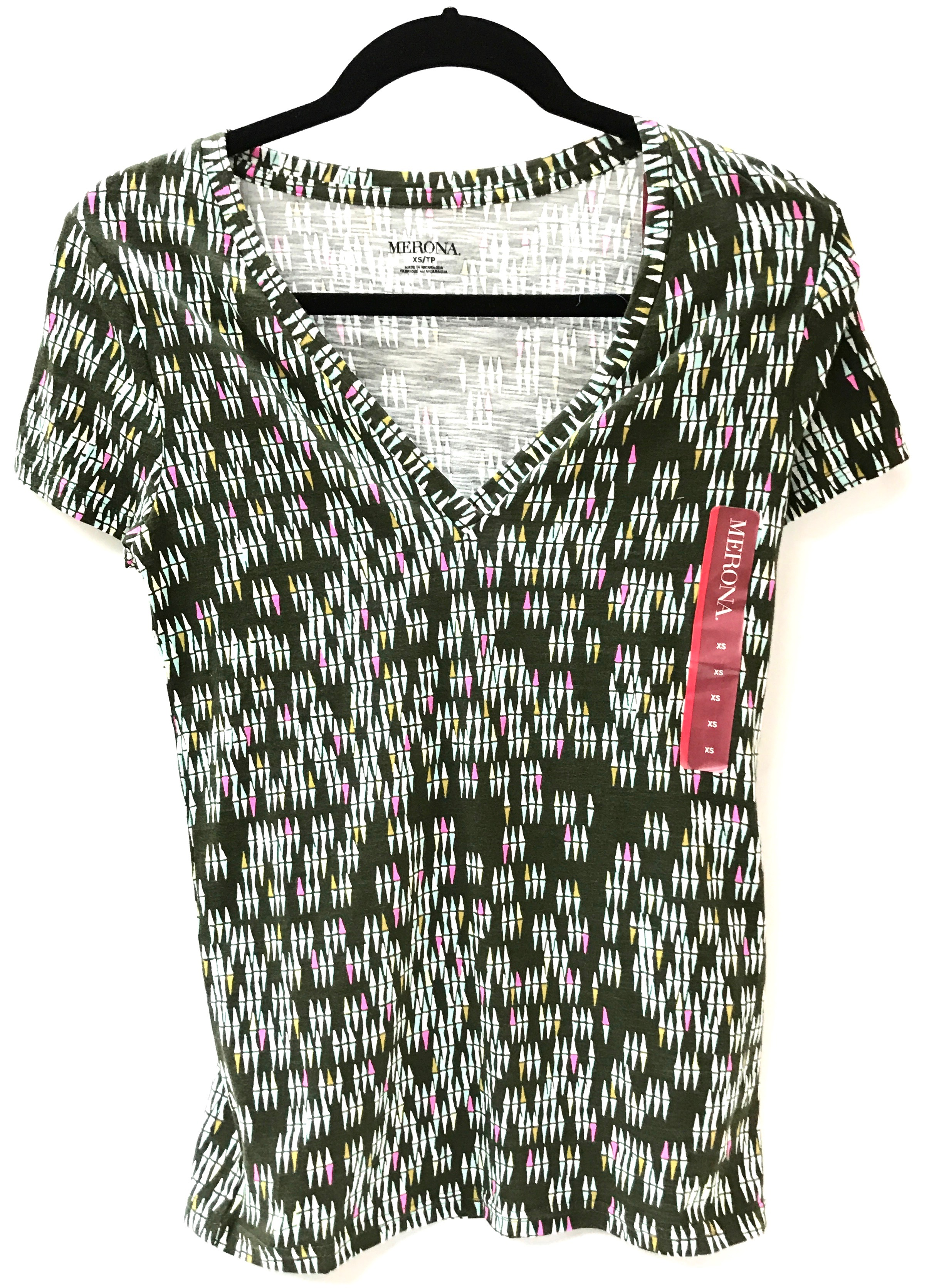 Green Print V-Neck Shirt - MEDIUM