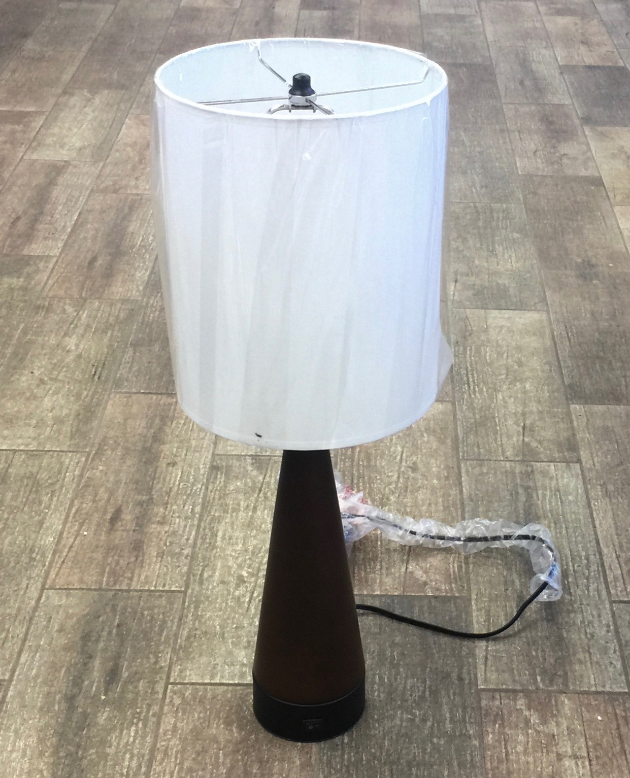 Steel Mahogany Table Lamp
