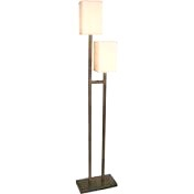 Caramel Black Satin Base Floor Lamp Double Post
