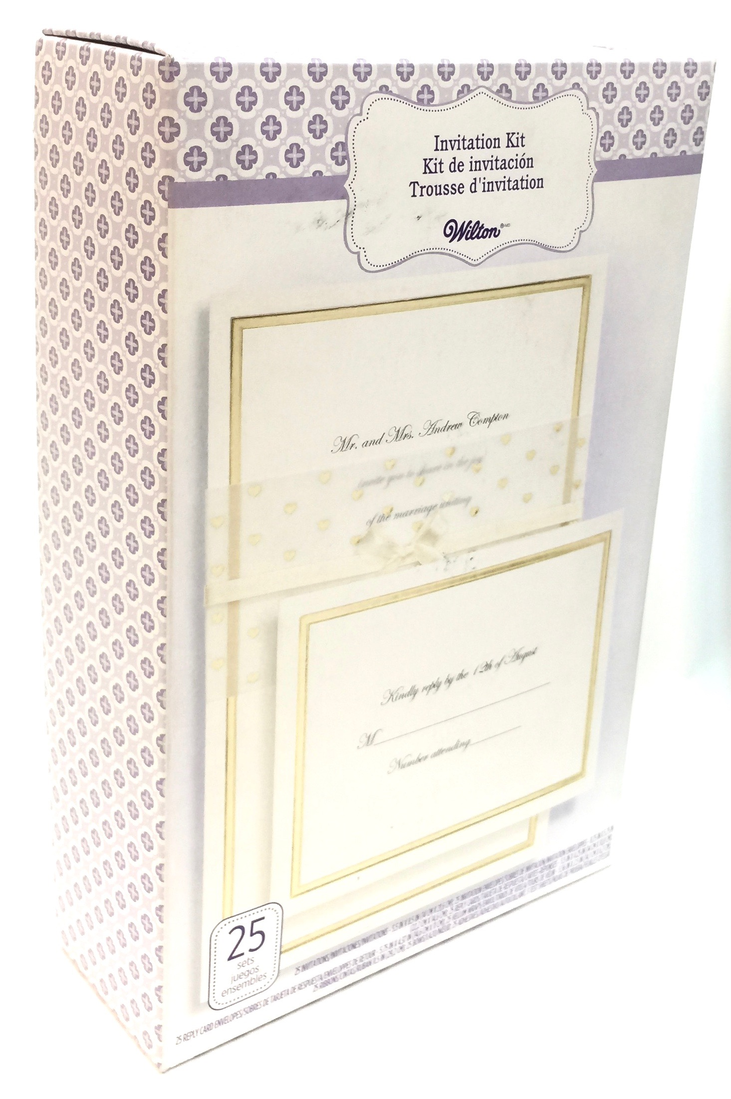 25 Ct Ivory With Gold Trim & Hearts Invitation Kit