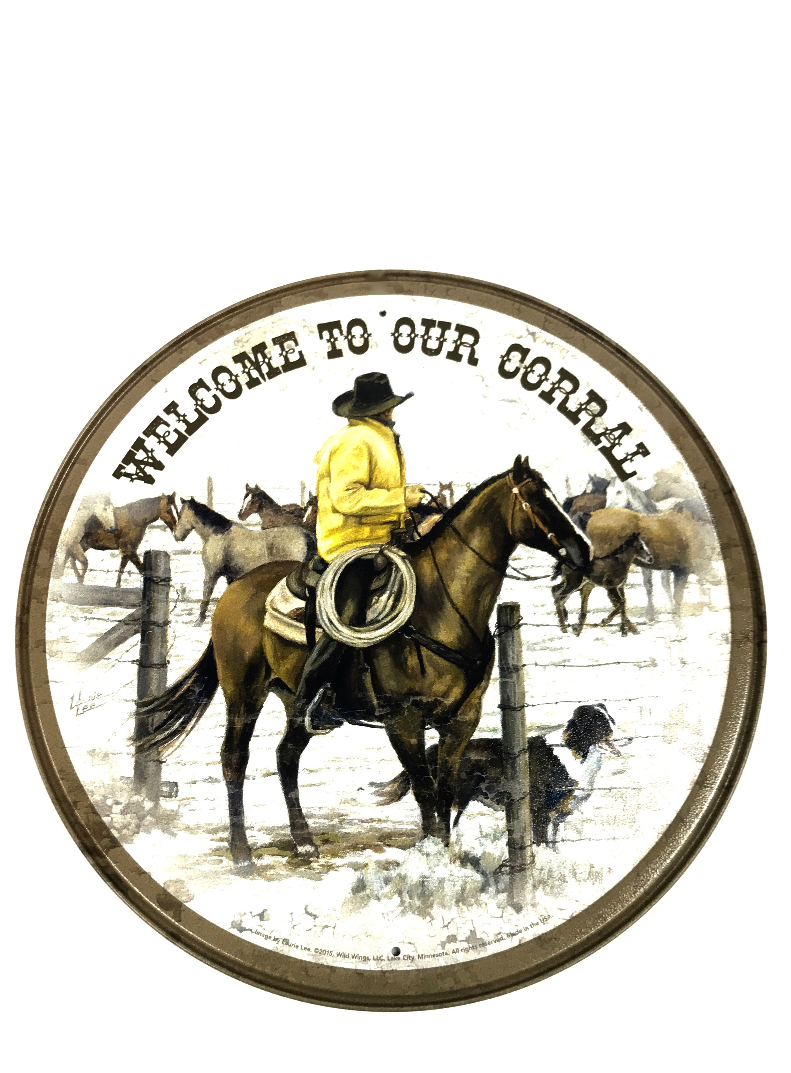 (7010) Welcome Corral Horse Round Tin Sign